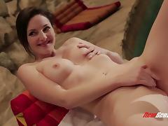 Slim brunette Tegan Mohr enjoys interracial sex in a cellar